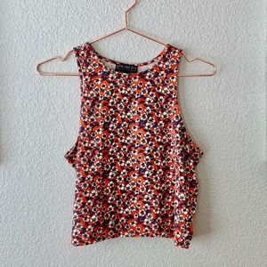 Red Floral High Neck Tank Top Size 1X